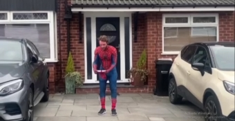 'Spider-Man' uses daily exercise time to cheer up locked-down kids