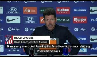 Hearing Atletico fans outside the ground made Simeone emotional
